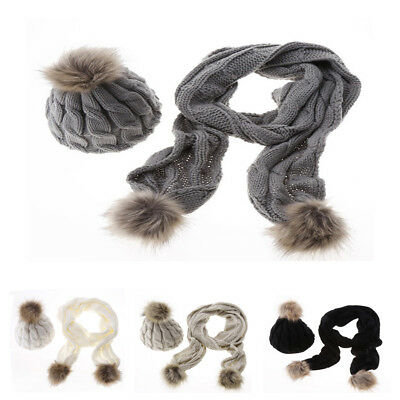 Scarf And Hat Set Womens Warm Knitted Beanie Scarves Knit Skullcaps Winter Lot