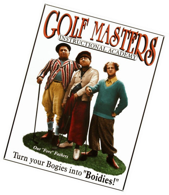Three Stooges Golf Masters Tin Sign 13 x 16in
