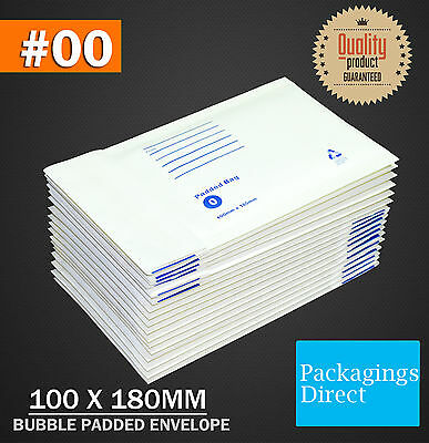 500x Bubble Envelope #0 100x180mm Padded Bag Mailer SIZE 00 - White Printed
