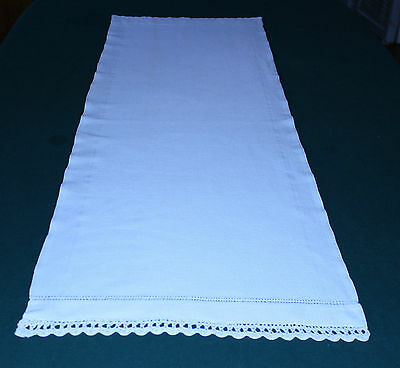 "Early Vintage Homespun Linen Runner, Crochet Trim, 55"" Long, Classic Country1880"