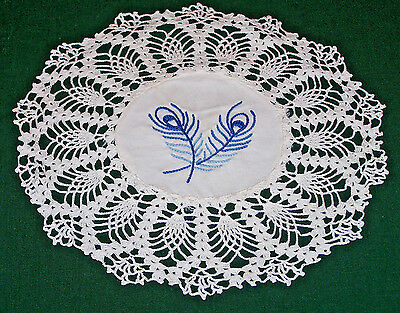 """Stunning Vintage Doily, Blue Embroidery, Crocheted Lace Trim, 11"""" Diameter, 1930"""