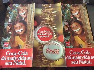 vintage 80's South American COCA COLA Christmas POSTER