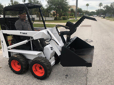 "Bobcat skid steer M371 - New Engine - New Tires, 44"" Bucket and Grapple +Trailer"