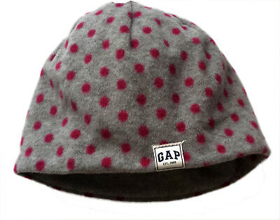 Kids GAP Girls GREY MAGENTA PINK Polka Dot Spotty Fleece Beanie Hat S/M 6-9 yrs