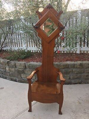 Antique Wood Hall Tree with Seat And Storage  – mirror - Relief Carvings