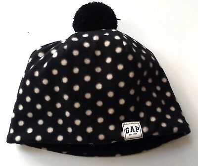 Kids GAP Girls BLACK IVORY Polka Dot Spotty Fleece Beanie Hat S/M 6-9y