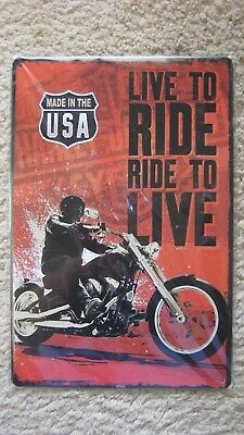 Garage Wall Decor Poster Metal tin Motorcycle SIGN, (LIVE TO RIDE RIDE TO LIVE)