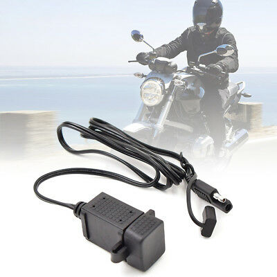 3.1A Motorcycle SAE Cable Dual USB Adapter Waterproof Phone GPS Charger Socket