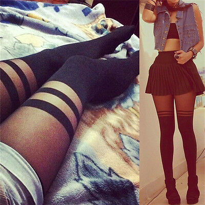 Black Sexy Women Temptation Sheer Mock Suspender Tights Pantyhose Stocking YJ