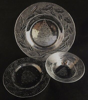 Arcoroc Holly Tree Christmas 3 Piece Place Setting Plates Bowl Cristal d'Arques