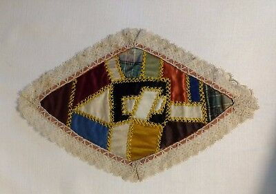 Doll House Rug or Bed Covering Antique Crazy Quilt Silk Triangle w Provenance
