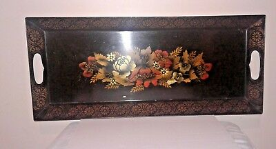 "Old Vtg Hand-Painted Metal Serving Tray Toleware Floral pattern 21.5"" x 9.5"""