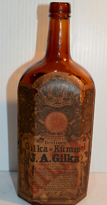 Antique Embossed Glass JA Gilka Bottle Original Whiskey  Berlin Early 1900's