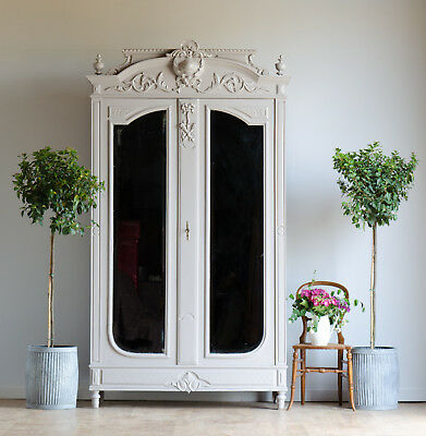 Antique French Knockdown Double Wardrobe Armoire Mirror Painted in Farrow & Ball