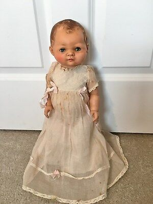Unknown vintage antique American Character baby doll with old possibly orig gown