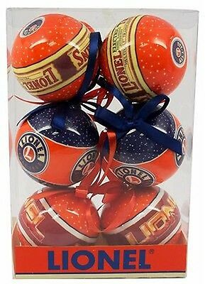 LIONEL LOGO CHRISTMAS ORNAMENTS- Set of 6 – New In Box - Model No.: 9-21014