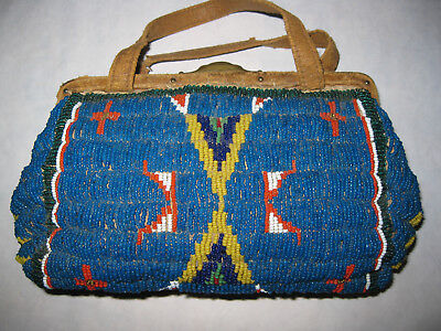Late 1800's Lakota Sioux Fully Beaded Purse