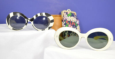 Two Pair of Vintage Italian and French Ladies Sunglasses Funky Kitschy Cool