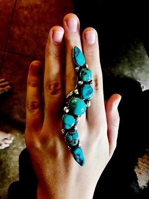"""Unique sterling silver and turquoise statement ring,, 4"""" long!"""