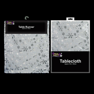 Christmas Festive Snowflake Table Cover Tablecloth Runner White Silver Sparkly