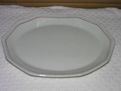 Antique Dudson Armolite England Oval Platter White With Burgundy/Gray Bands