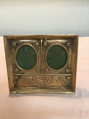 Antique Vintage Brass Double Oval Picture Frame Screw Back Easle Table Top Type