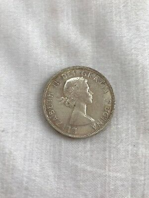 1955 Canadian Silver Dollar Coin currency money foreign coins Canada collectors
