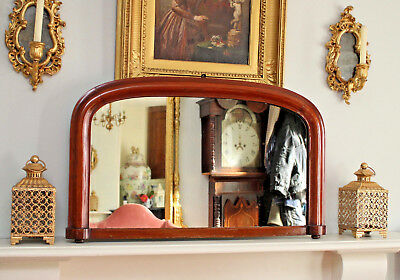 A Beautiful Victorian c19th Antique Overmantel Mirror in Mahogany