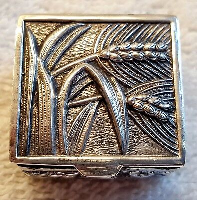 Sterling Silver 925 Wheat Flowers Pill Box Gold Wash Interior