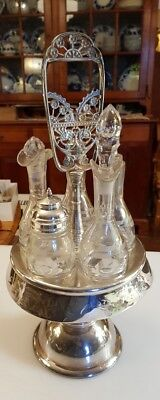 Victorian Silverplate Revolving Condiment Cruet Caster Set Etched Glass Bottles