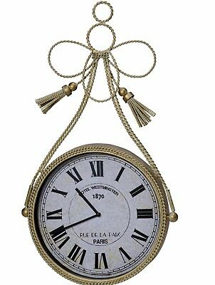 Cream Round Metal Wall Clock Braided Fixed Tassel Shabby Chic Antique Style  NEW