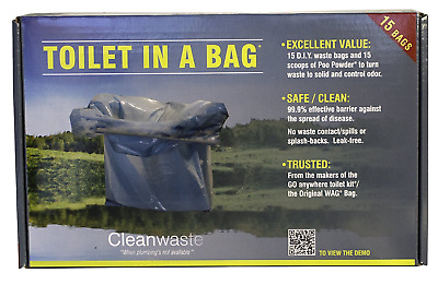 Cleanwaste Toilet in a Bag - DIY Kit 15 pack New Worldwide Shipping