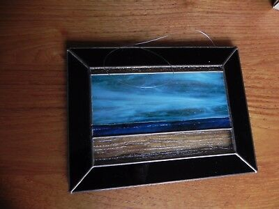 """Stained Leaded Glass Seascape Sun Catcher Window Hanging 9"""" wide X 6 3/4 high"""