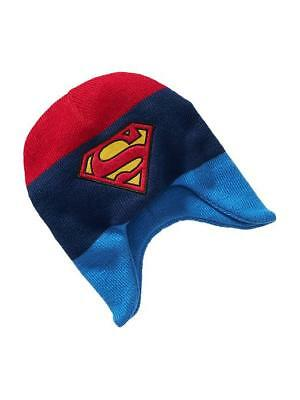 Old Navy Superman Earflap Beanie Knit Hat Winter Warm Hat Blue Youth/Boy's Large