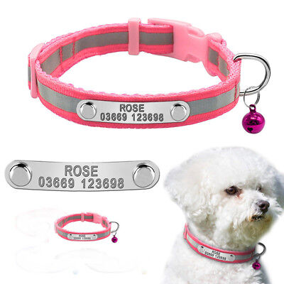Personalized Small Dog Collar Reflective Chihuahua Collar for Pet Puppy Cat Pink