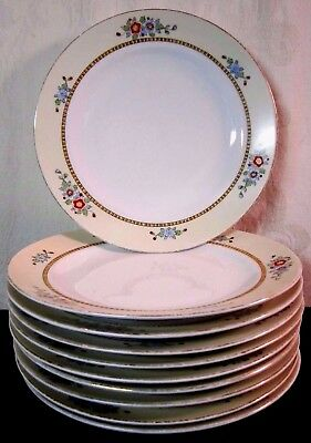 """Setting of 10 Vintage Meito China 9.75"""" Floral Dinner Plates Hand Painted Japan"""