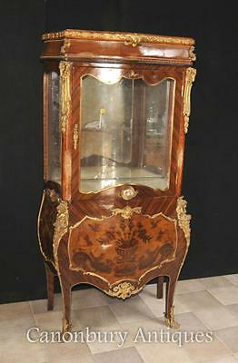 Antique French Empire Glass Display Cabinet Bijouterie Marquetry Inlay 1900