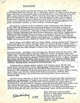 Allen Ginsberg autographed resume / biography / CV 1978 (authentic)