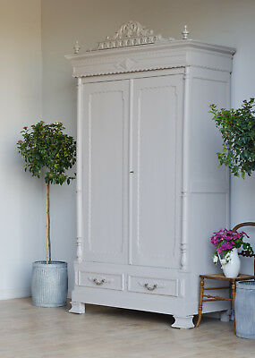 Antique French Knockdown Double Wardrobe Armoire Cupboard Painted Farrow & Ball