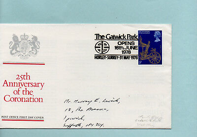 FDC. 25th Anniversary of the Coronation. 31 May 1978. The Gatwick Park...