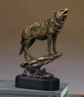 "Wolf On Cliff 8""x12"" Beautiful Bronze Statue / Sculpture Brand New"