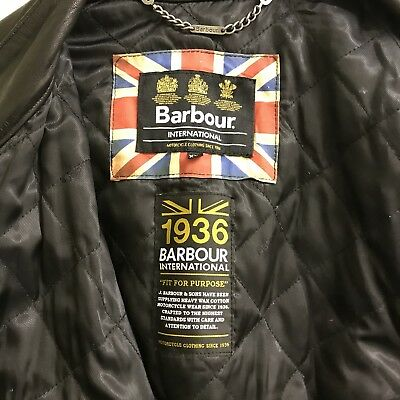 Barbour International Sadler Black Leather Jacket ( mint size xl