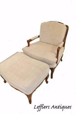 Arm Chair And Ottoman By Baker Furniture With Nail Head Trim Cherry Frame
