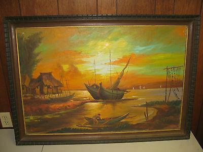 Early 20th Century Large Framed Oil on Canvas Painting Ship Seascape Unsigned