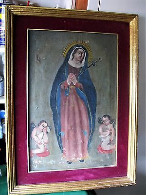 Antique Original Oil Painting On Canvas Of Our Lady Of Sorrows W/ Two Angels