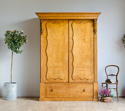 Large Antique Victorian Birds Eye Maple Double Wardrobe Armoire Trays Drawers