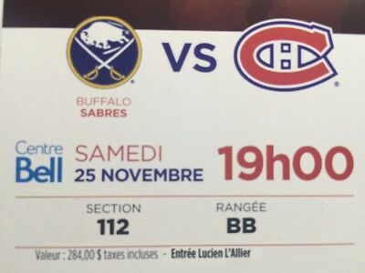 2x Montreal Canadiens vs Buffalo Sabres Nov 25 Section 112 2nd Row to ICE