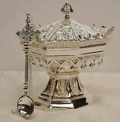 SILVER PLATED ORNATE GOTHIC BRASS BOAT AND SPOON - 75  (Censer, Chalice, Church)