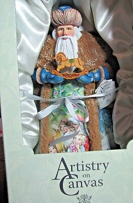 Artistry on Canvas, G. DeBrekht, Father Christmas in a painted canvas cape w/toy