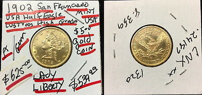 AS SHOWN USA LUSTROUS 1902-S LIBERTY Head $5.00 Gold Half Eagle Coin RETAIL $625